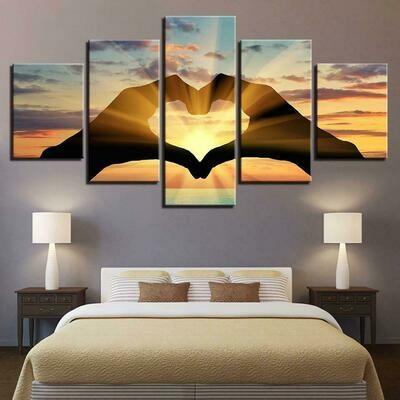 Heart Shape - 5 Panel Canvas Print Wall Art Set