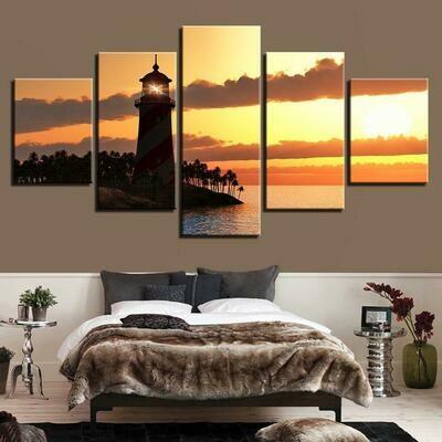 Lighthouse Sunset - 5 Panel Canvas Print Wall Art Set