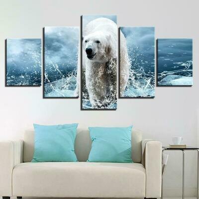 Polar Bear - 5 Panel Canvas Print Wall Art Set