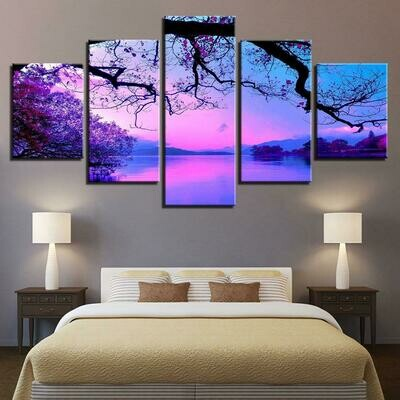 Purple Sunset Trees - 5 Panel Canvas Print Wall Art Set