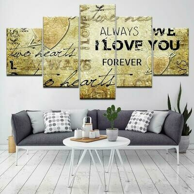 Art Love - 5 Panel Canvas Print Wall Art Set