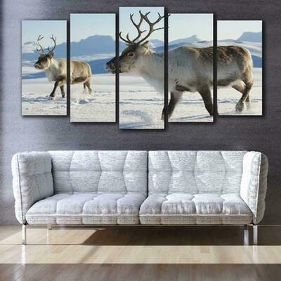 Deer in Snow - 5 Panel Canvas Print Wall Art Set