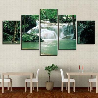 Forest Lake Waterfall - 5 Panel Canvas Print Wall Art Set