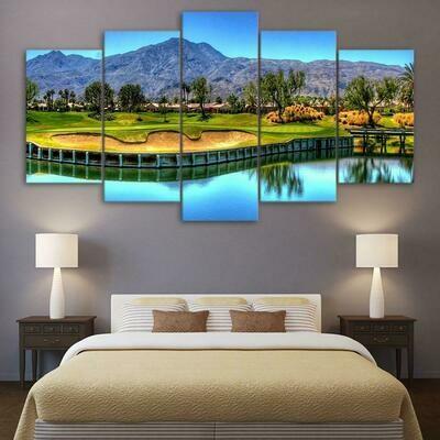 Mountain Golf Course - 5 Panel Canvas Print Wall Art Set