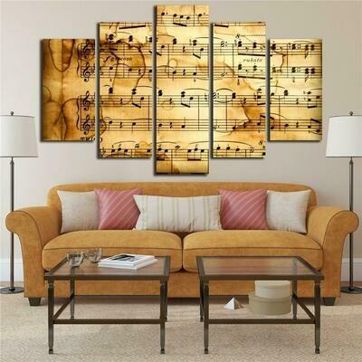 Music Score Notation - 5 Panel Canvas Print Wall Art Set