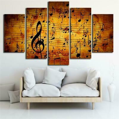 Musical Note - 5 Panel Canvas Print Wall Art Set