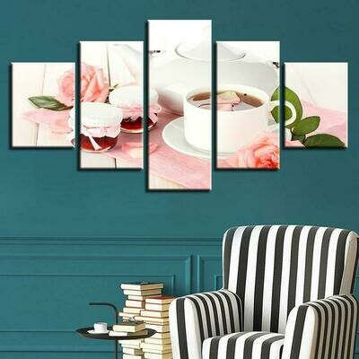 Pink Rose Tea - 5 Panel Canvas Print Wall Art Set