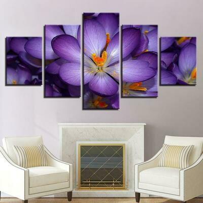 Purple Flowers - 5 Panel Canvas Print Wall Art Set