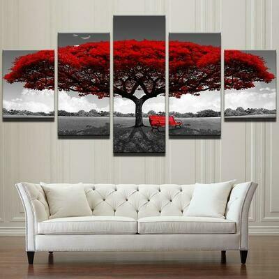 Red Tree Art - 5 Panel Canvas Print Wall Art Set