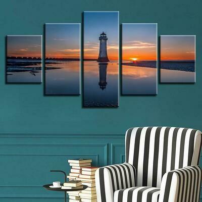 Sun Lighthouse Seaview - 5 Panel Canvas Print Wall Art Set