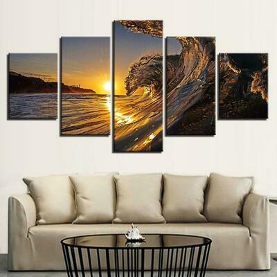 Sunset Sea Wave - 5 Panel Canvas Print Wall Art Set