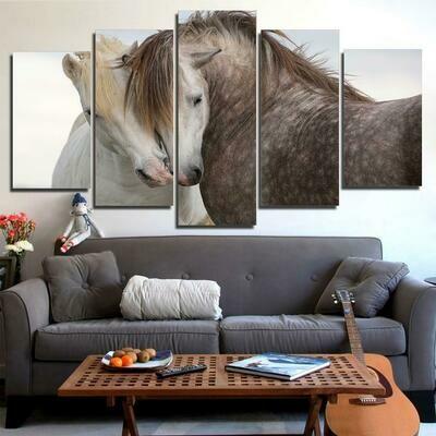 White And Black Horses Couple - 5 Panel Canvas Print Wall Art Set