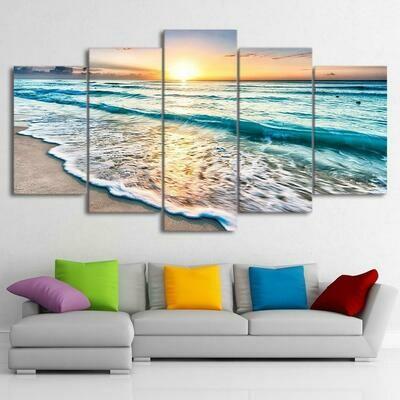 Sunset Beach - 5 Panel Canvas Print Wall Art Set