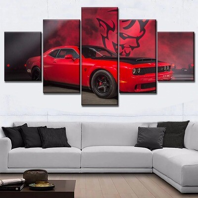 Red Muscle Car Dodge Challenger Multi Canvas Print Wall Art