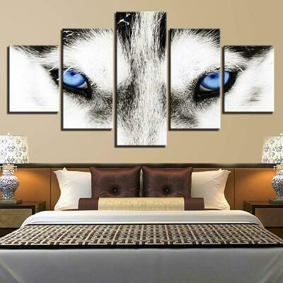 Wolf's Blue Eyes - 5 Panel Canvas Print Wall Art Set