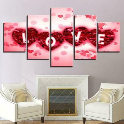 Rose Petals Love - 5 Panel Canvas Print Wall Art Set