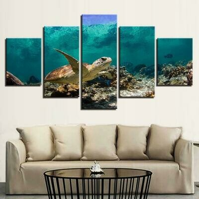 Sea Turtle - 5 Panel Canvas Print Wall Art Set