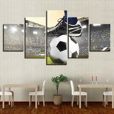 Soccer Game - 5 Panel Canvas Print Wall Art Set