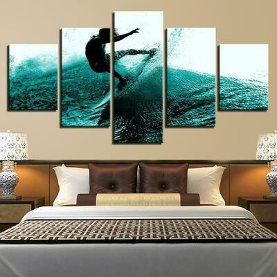 Surfer - 5 Panel Canvas Print Wall Art Set