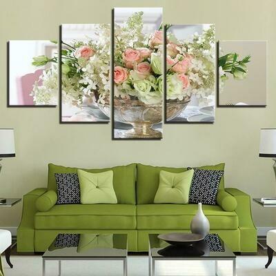 White Pink Flowers Bouquet - 5 Panel Canvas Print Wall Art Set