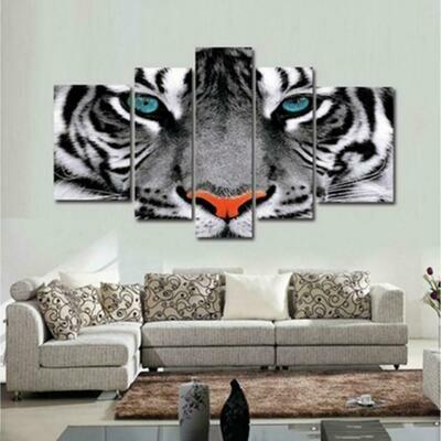 White Tiger Eyes - 5 Panel Canvas Print Wall Art Set
