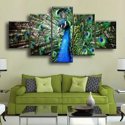 Peacock Multi Canvas Print Wall Art