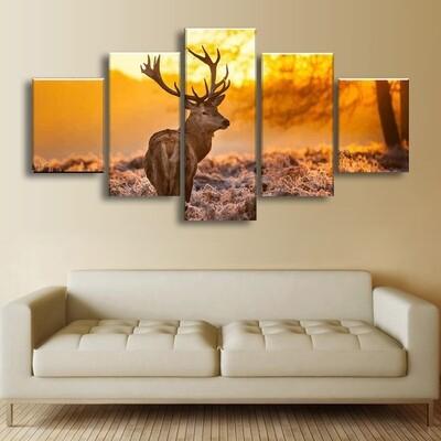Deer Sunset Multi Canvas Print Wall Art