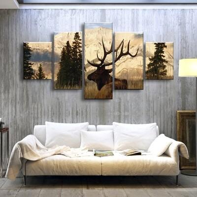 Elk In The Woods Multi Canvas Print Wall Art