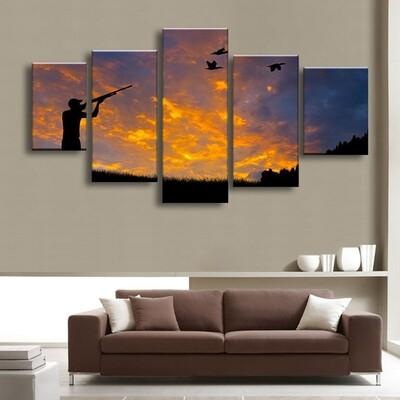 Bird Hunter Multi Canvas Print Wall Art