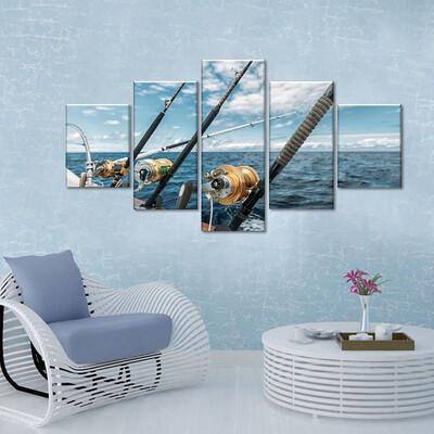Fishing In The Sea Multi Canvas Print Wall Art
