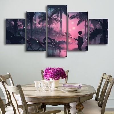Firefly Marsh Multi Canvas Print Wall Art