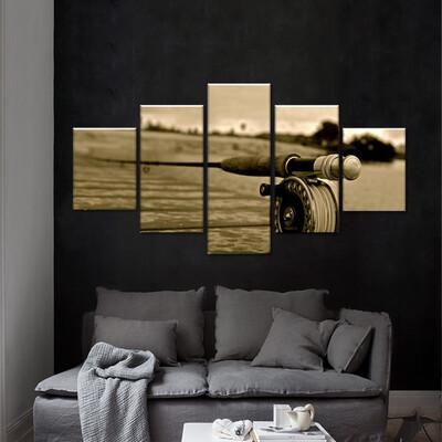 Fishing Rod Multi Canvas Print Wall Art