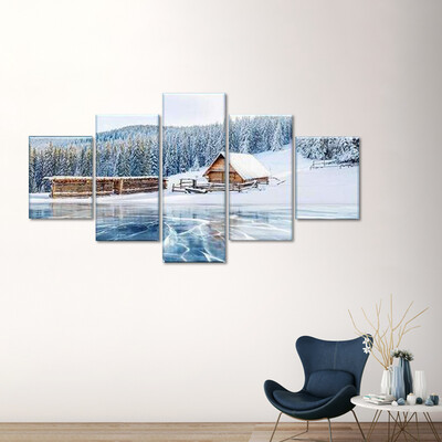 Ice Lake Cabin Multi Canvas Print Wall Art