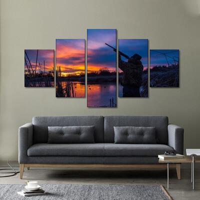 Hunting At Dusk Multi Canvas Print Wall Art