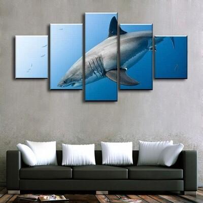 Shark Multi Canvas Print Wall Art