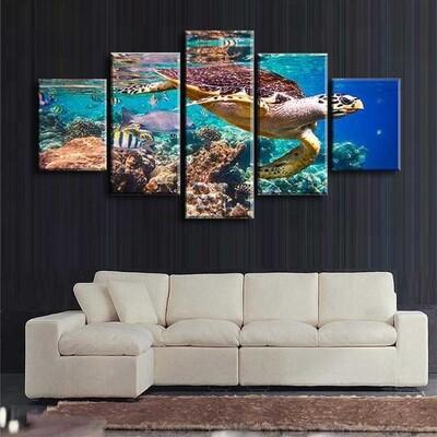 Turtle Multi Canvas Print Wall Art