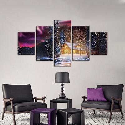 Winter Night Cabin Multi Canvas Print Wall Art