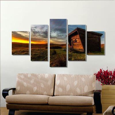 Wood Cabin Sunrise Multi Canvas Print Wall Art