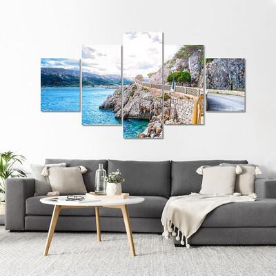 Adriatic Sea Coastline With Sky Multi Canvas Print Wall Art