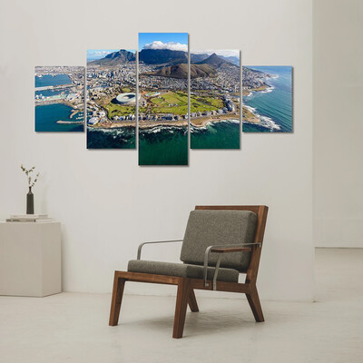 Air Tour Of Cape Town Multi Canvas Print Wall Art
