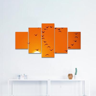 Birds In Heart Shape Multi Canvas Print Wall Art