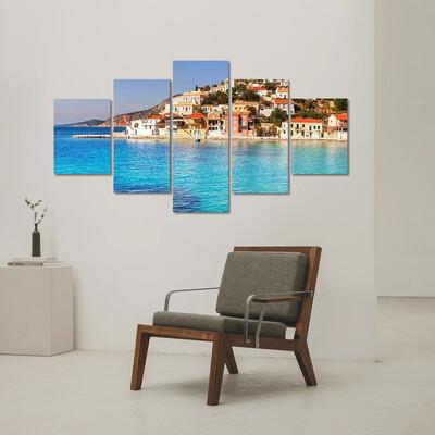 Assos Village And Sea Bay Multi Canvas Print Wall Art