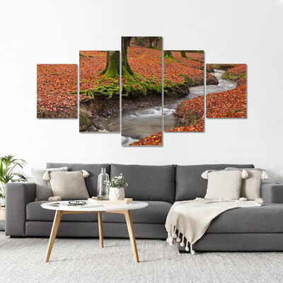 Autumn Season In The Forest Multi Canvas Print Wall Art