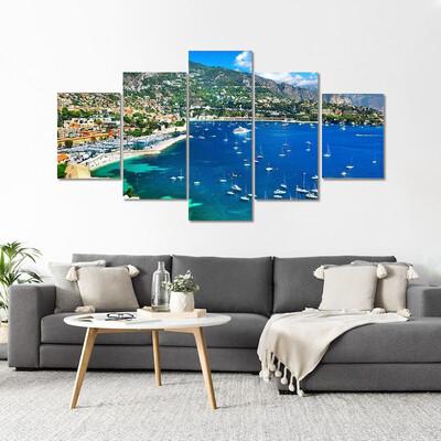 Azzure Coast Of France Multi Canvas Print Wall Art