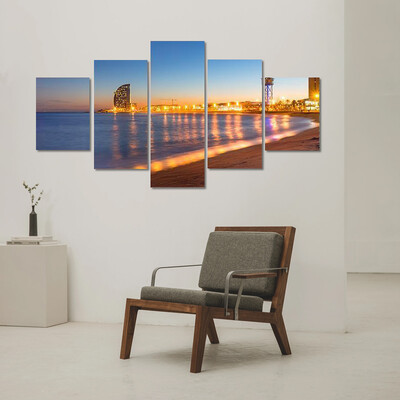 Beach In Barcelona At Sunset Multi Canvas Print Wall Art