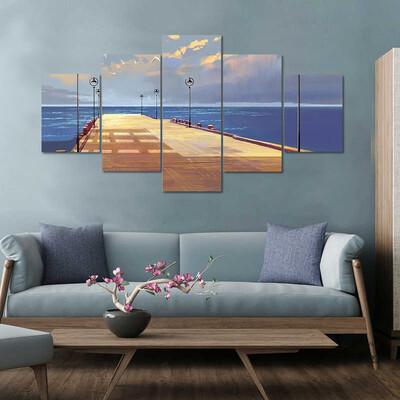 Bridge To The Sea Multi Canvas Print Wall Art