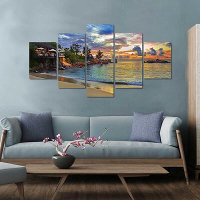 Cafe On Tropical Beach Multi Canvas Print Wall Art
