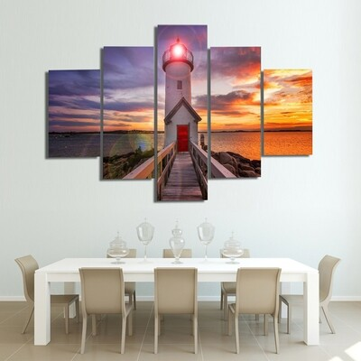 Lighthouse At Sunset Multi Canvas Print Wall Art
