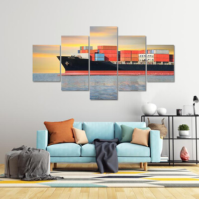 Cargo Ship And Cargo Container Multi Canvas Print Wall Art