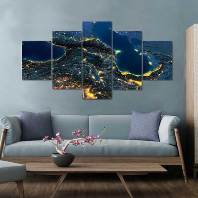Caucasus And The Caspian Sea Multi Canvas Print Wall Art